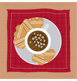 christmas napkin with dish and cookies shape of vector image