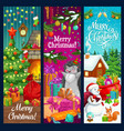 christmas tree snowman and xmas gifts banners vector image vector image