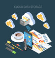 cloud storage isometric composition vector image vector image
