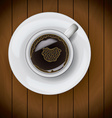 Coffee cup on plate realistic on wood background vector image vector image