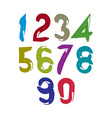 Colorful doodle brush numbers hand-painted bright vector image vector image