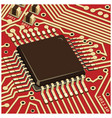 computer chip on the red board close up vector image vector image