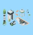 cosmodrome equipment isometric set cargo rocket vector image vector image