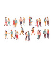 couples in love walking and holding hands set vector image vector image