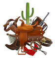 cowboy concept with saddle vector image vector image