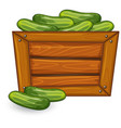 cucumber on wooden banner vector image vector image