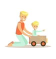 Dad And Son Playing With Cardboard Car Loving vector image vector image