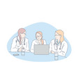 doctors meeting hospital staff clinic personnel vector image