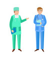doctors surgeon and therapist in medical overalls vector image vector image