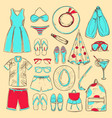 doodle colored summer beach icons collection vector image vector image