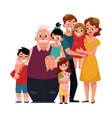 family portrait - parents children grandfather vector image vector image