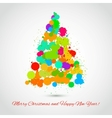 Fir tree of colorful artistic stains Holiday vector image