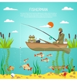 Fisherman Color Design Concept vector image vector image