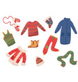 flat set of winter clothes and accessories vector image