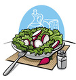 fresh green salad with radish vector image