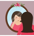 girls with acne pimple looking into mirror skin vector image vector image