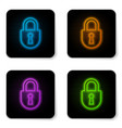 glowing neon lock icon isolated on white vector image vector image