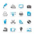 graphic design industry icons vector image vector image