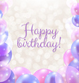 Happy Birthday Card With Pastel Balloons vector image