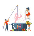happy family cooking together a soup concept vector image vector image