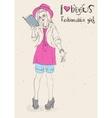 I love reading books Fashionable girl vector image