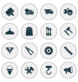 industrial icons set with chisel truck auger and vector image