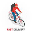 isomeric fast delivery concept delivery man or vector image