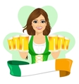 leprechaun girl with beer mugs and irish ribbon vector image