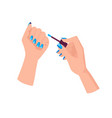 light blue manicure with triangles on female hands vector image vector image