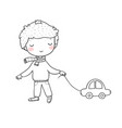 little cute boy with a car kid with a toy vector image vector image
