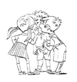 Mystery a group of children whispering vector image vector image