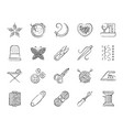 needlework charcoal draw line icons set vector image