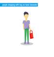 people shopping with bag on hand character vector image