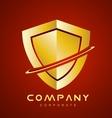 Red gold antivirus shield logo icon design vector image