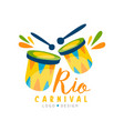 rio carnival logo design bright festive party vector image vector image
