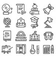 school education icons set vector image vector image