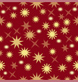 seamless dark red background with gold stars vector image