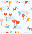 seamless pattern with flying colourful balloons vector image vector image