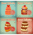 set retro cards with cake vector image