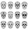 set sugar skulls isolated on white background vector image vector image
