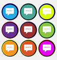 Speech bubbles icon sign Nine multi colored round vector image vector image