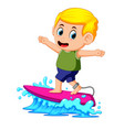 surfer ridding the waves vector image