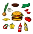 Tasty burger concept with ingredients vector image