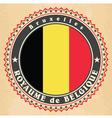 vintage label cards belgium flag vector image vector image