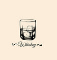 whiskey glass in realistic hand drawn sketch vector image