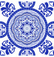 white and blue ornamental pattern indian vector image vector image