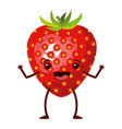 white background with realistic strawberry fruit vector image
