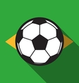 football icon with Brazil flag background vector image