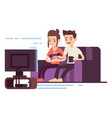 happy young couple watch tv vector image