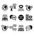 International Mother Language Day icons set vector image
